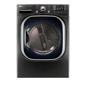 7.4 cu. ft. PrintProof Black Stainless Steel Stackable Front Load Electric Dryer with TurboSteam, Pedestal Compatible