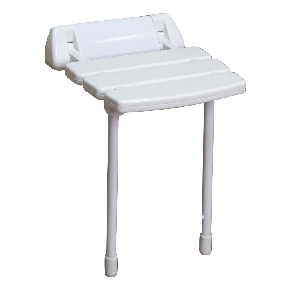 14 in. Wall Mount Slatted Folding Shower Seat with Legs in White ...