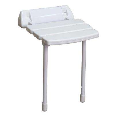 14 in. Wall Mount Slatted Folding Shower Seat with Legs in White