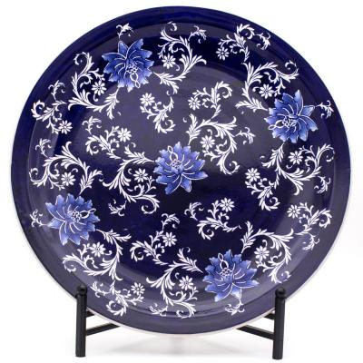 Blue Garden Decorative Plate with Stand