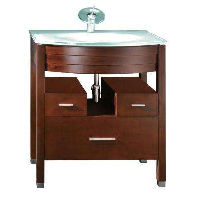 Delicieux Vanity In Chocolate With Glass Vanity Top In Frosted Tempered Glass