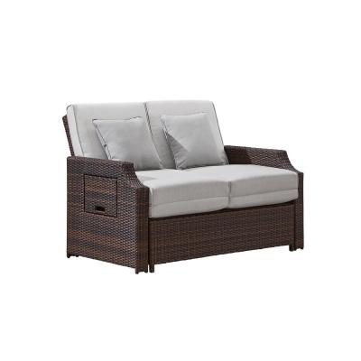 Sunnybrook Light Brown Wicker Outdoor Daybed with Brown Cushion