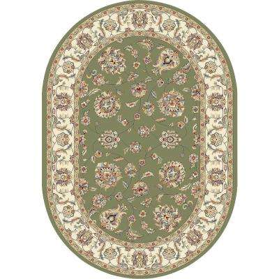 Judith Green/Ivory 7 ft. x 10 ft. Indoor Oval Area Rug
