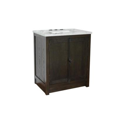 Plantation 31 in. W x 22 in. D Bath Vanity in Brown with Marble Vanity Top in White with White Rectangle Basin