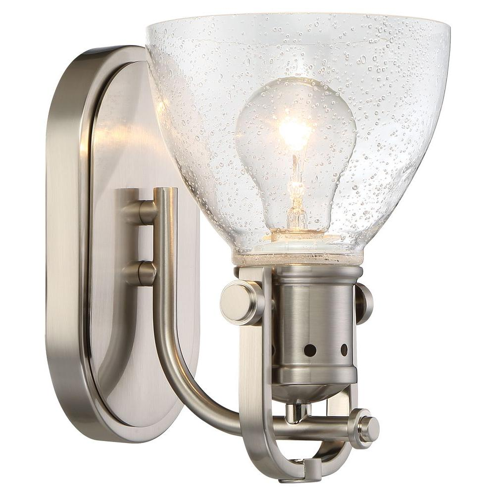 Minka lavery 1 light brushed nickel bath light 3411 84 the home depot for Minka bathroom light fixtures