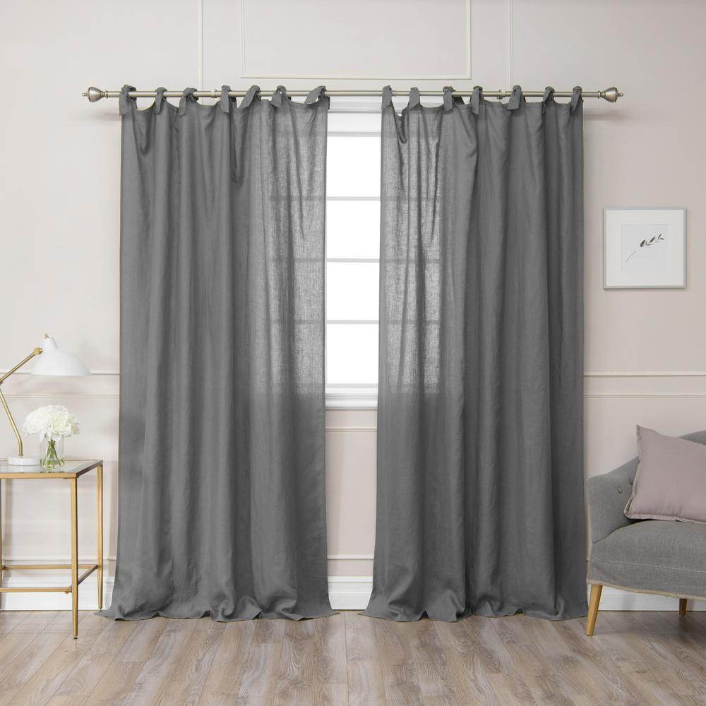 Dark Grey 84 in L. Abelia Belgian Flax Linen Romantic Tie Top Curtain Panel