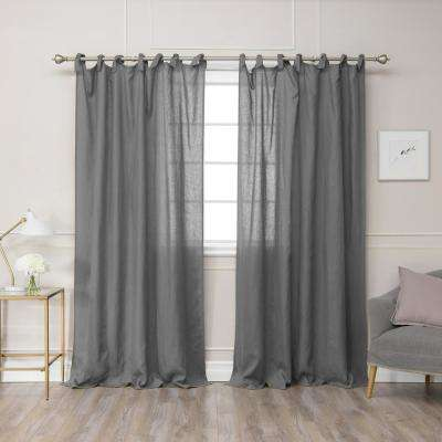 Dark Grey 96 in. L Abelia Belgian Flax Linen Romantic Tie Top Curtain Panel