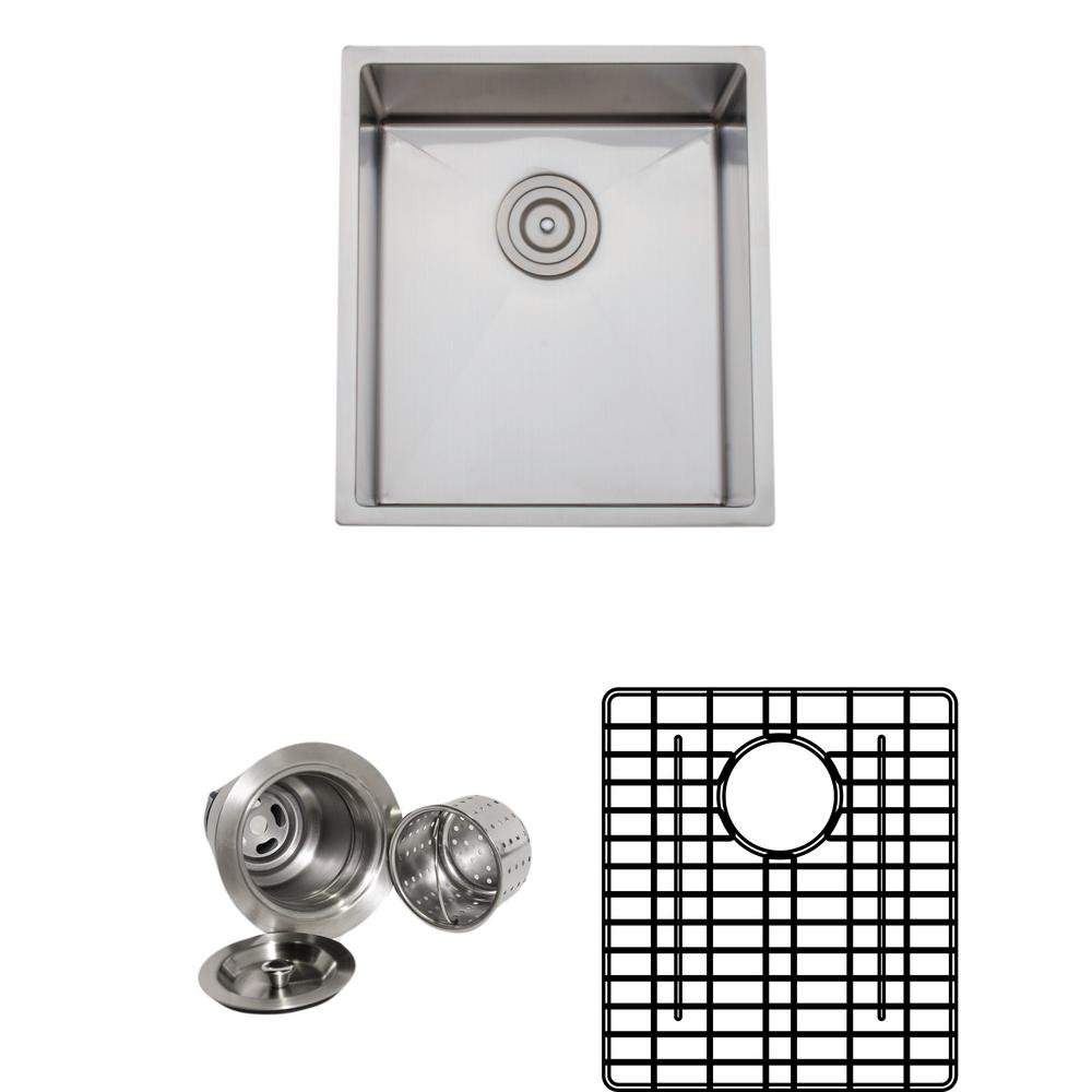 Wells The Chefs Series Undermount 17 in. Stainless Steel Handmade Single Bowl Kitchen Sink Package