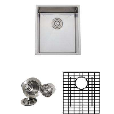 The Chefs Series Undermount 16 in. Stainless Steel Handmade Single Bowl Kitchen Sink Package