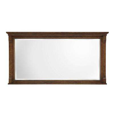 H Single Framed Wall Mirror In Walnut