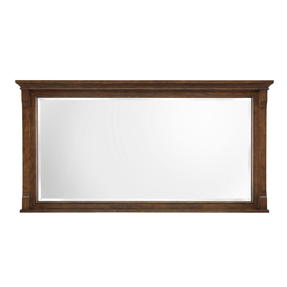 60 in. W x 31 in. H Framed Rectangular Beveled Edge Bathroom Vanity Mirror in Walnut