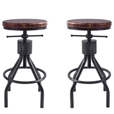 Paris Adjustable Silver Brushed Gray Barstool (Set of 2)