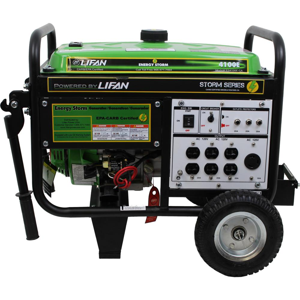 LIFAN Energy Storm 4,000/3,500-Watt Gasoline Powered Electric Start  Portable Generator with Wheel Kit