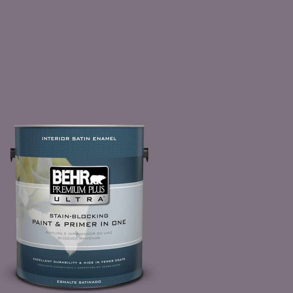 1 gal. #PPU17-17 Plum Shadow Satin Enamel Interior Paint and Primer