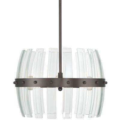 Carson 3-Light Coffee Bronze with Recycled Bent Beveled Glass Pendant