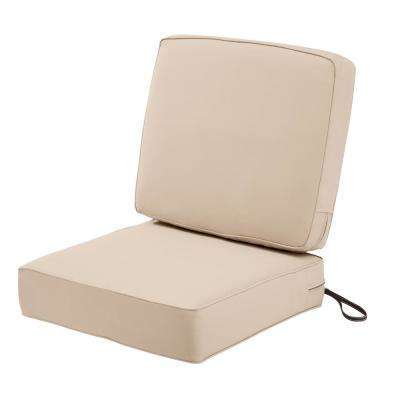 Montlake FadeSafe 25 in. W x 22 in. H Antique Beige Outdoor Lounge Chair Seat Cushion with Back Cushion