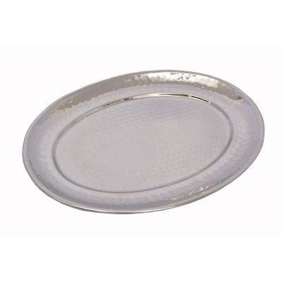 Stainless Steel 11.5 in. x 15.25 in. Hammered Oval Tray