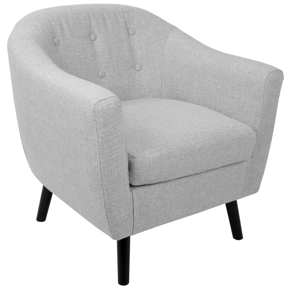 Light Grey Accent Chair: Lumisource Rockwell Light Grey Noise Accent Chair-CHR-AZ
