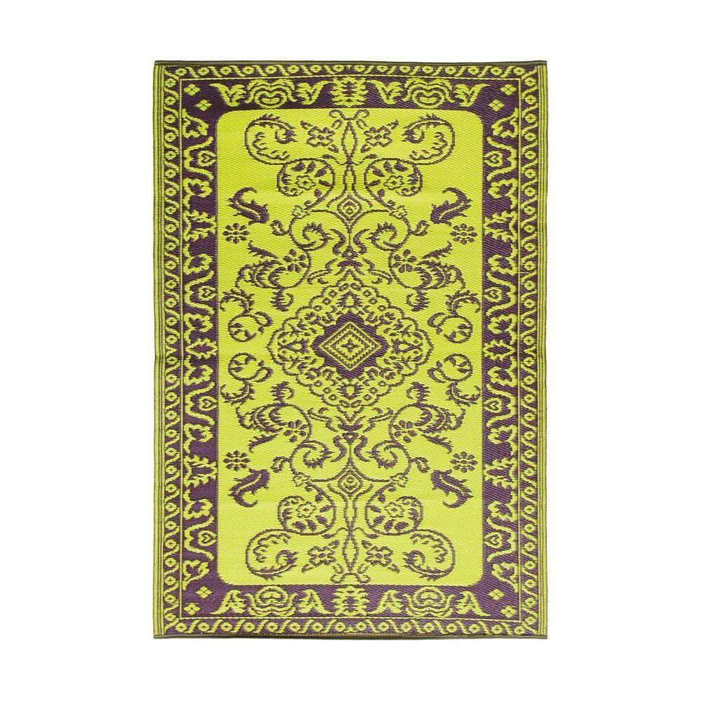 Achla Designs Green Purple Classic Duo- Tone 4 ft. x 6 ft. Indoor/Outdoor Area Rug, Purple Green Achla Designs Green Purple Classic Duo- Tone 4 ft. x 6 ft. Indoor/Outdoor Area Rug, Purple Green
