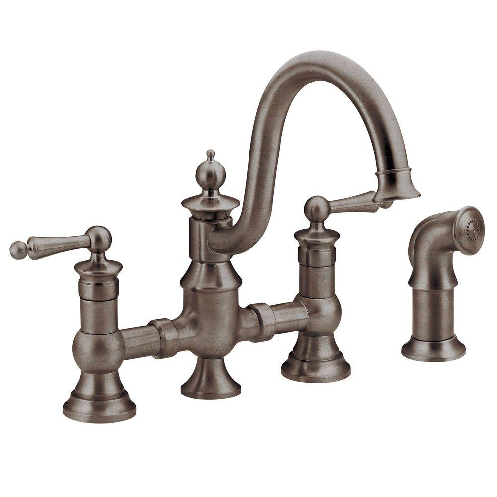 MOEN Waterhill 2 Handle High Arc Side Sprayer Bridge Kitchen Faucet In  Wrought Iron S713WR   The Home Depot