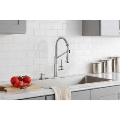 Gage Single-Handle Spring Neck Pull-Down Kitchen Faucet with TurboSpray, FastMount, Soap Dispenser in Stainless Steel