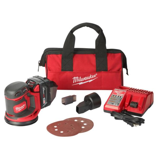 M18 18-Volt Lithium-Ion 5 in. Cordless Random Orbit Sander Kit with (1) 3.0Ah Battery, Charger and Tool Bag