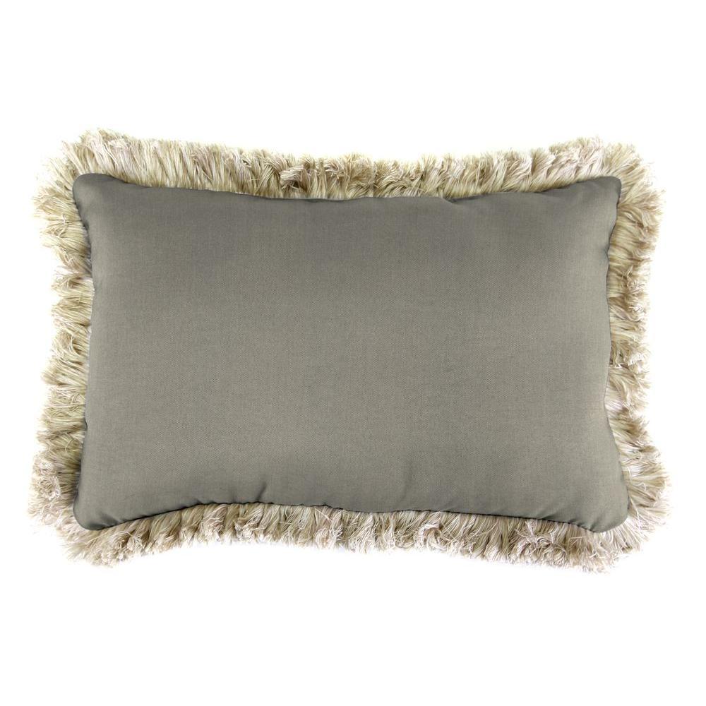 Sunbrella 19 in. x 12 in. Spectrum Dove Lumbar Outdoor Throw Pillow with Canvas Fringe