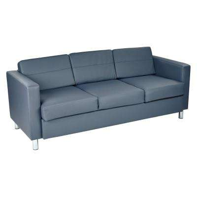 Pacific Dillon Blue Vinyl Sofa Couch with Box Spring Seats and Silver Color Legs