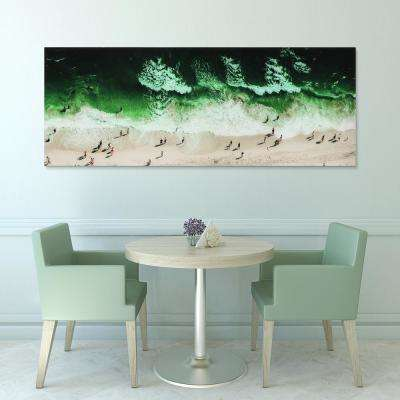 "24 in. x 63 in. ""High Tide"" Frameless Free Floating Tempered Glass Panel Graphic Art"
