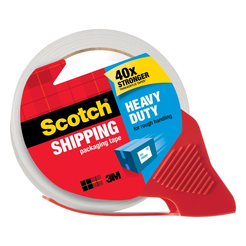 3M Scotch 1.88 in. x 54.6 yds. Heavy Duty Shipping Packaging Tape with Dispenser (Case of 12)