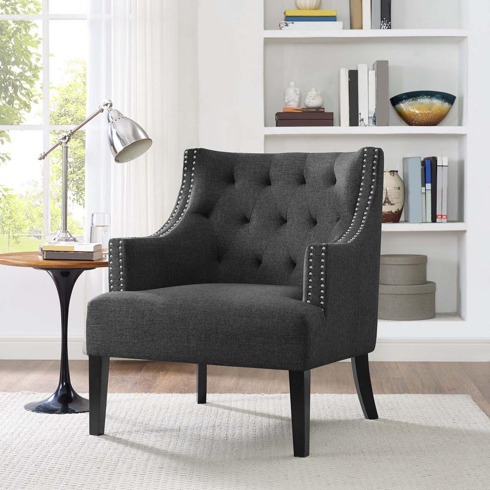 Regard Wood Armchair in Gray