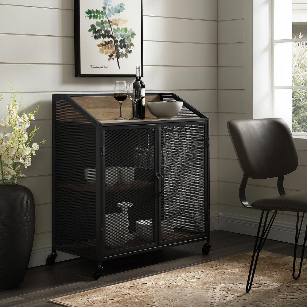 Rustic Oak Bar Cabinet With Mesh