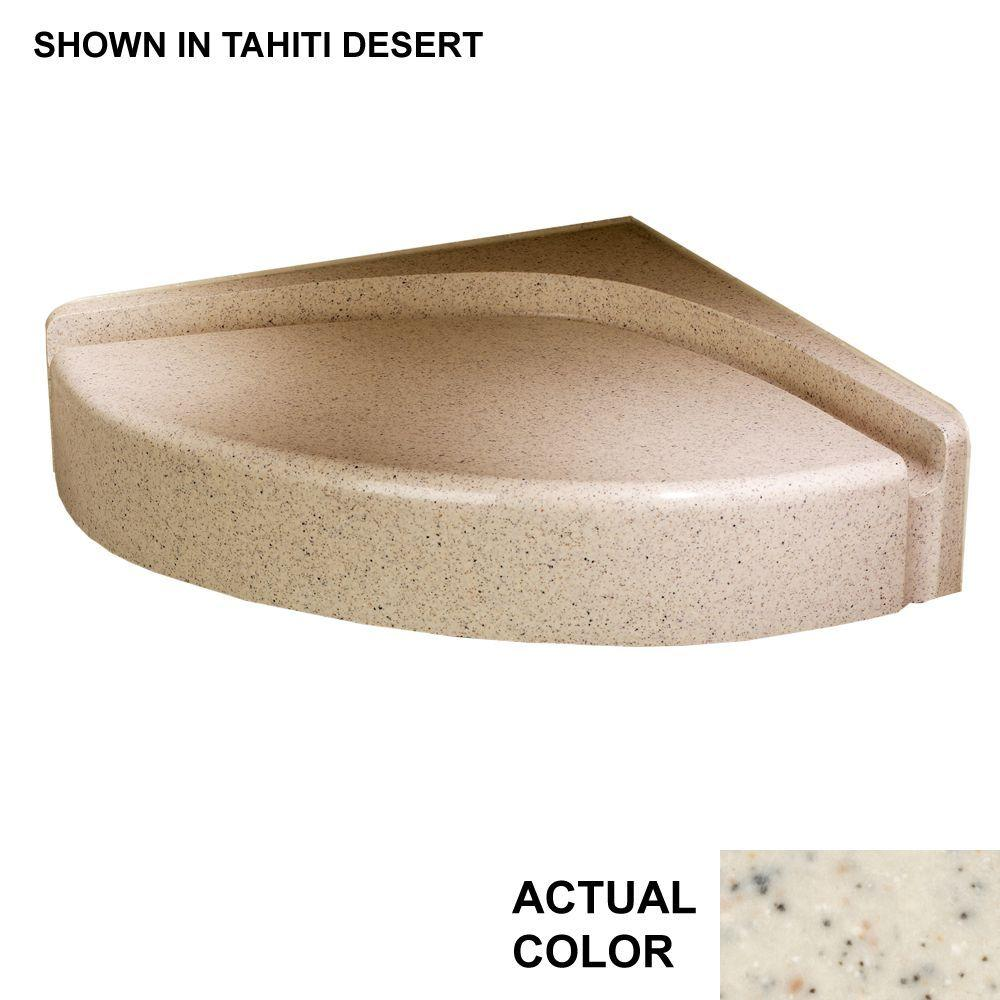 Swan Corner Mount Solid Surface Shower Seat in Tahiti Desert