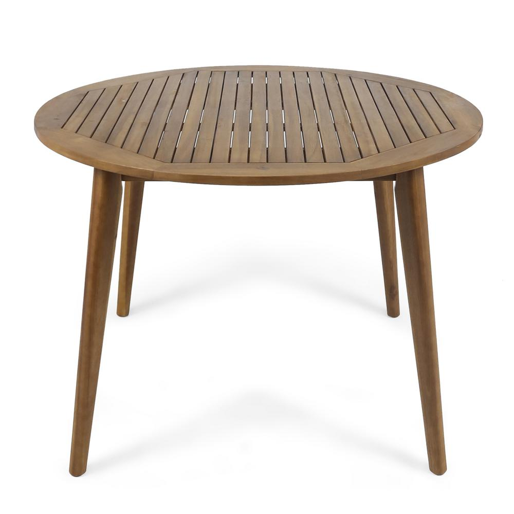 Stamford Teak Brown Round Wood Outdoor Dining Table