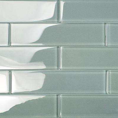 Contempo Grey 2 in. x 8 in. x 8mm Polished Glass Floor and Wall Tile (1 sq. ft.)