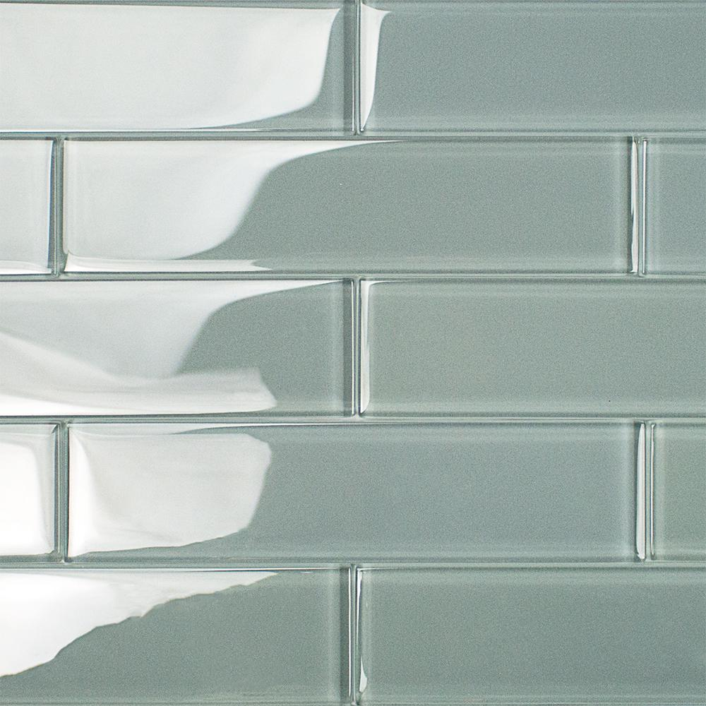 Splashback Tile Contempo Grey 2 in. x 8 in. x 8mm Polished Glass ...