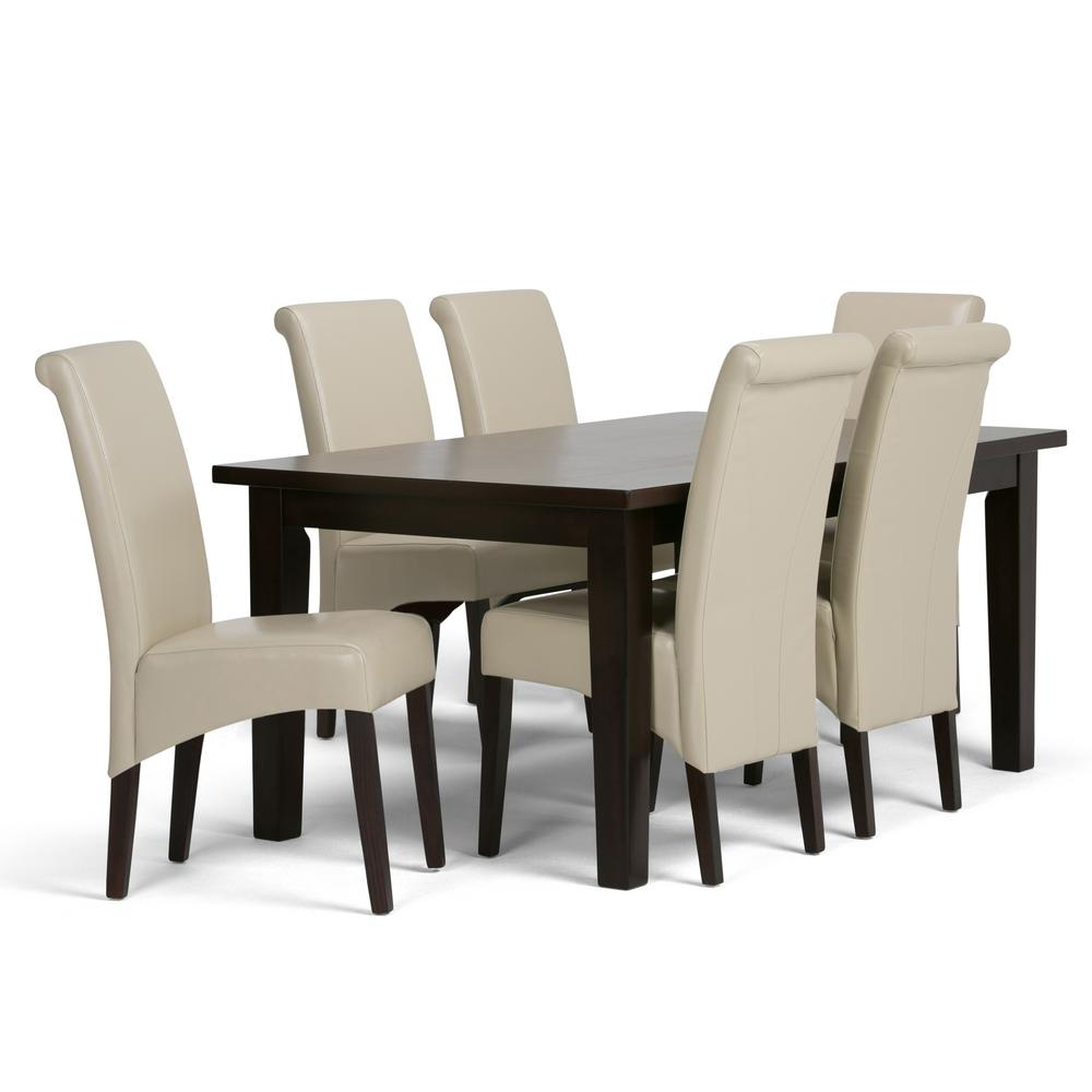 Simpli Home Avalon 7 Piece Satin Cream Dining Set