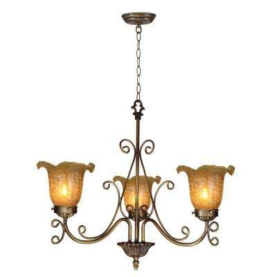 Luster Gold Tulip 3-Light Antique Bronze Hanging Pendant
