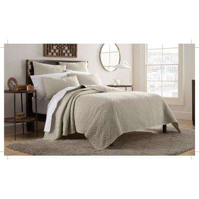 Kennedy 3-Piece Taupe King Mini Quilt Set