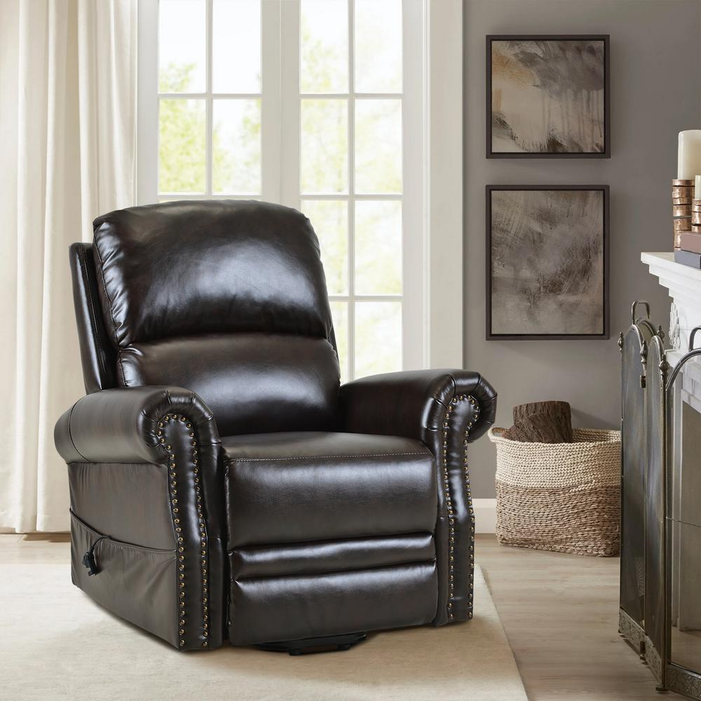 Merax Dark Brown Heavy Duty PU Leather Power Lift Recliner Chair PP191618AAD 1 The Home Depot