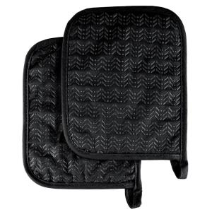 Quilted Silicone Black Heat Resistant Pot Holder Set (2-Pack)