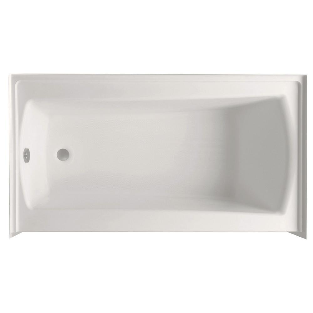 Aquatic Cooper 32 60 In Acrylic Left Drain Rectangular Alcove Soaking Bathtub Biscuit