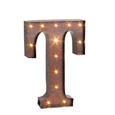 "12 in. H ""T"" Rustic Brown Metal LED Lighted Letter"