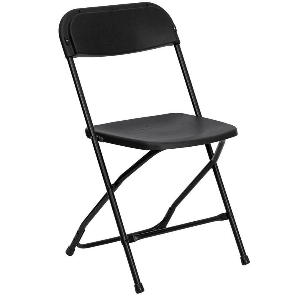 Advantage Black Poly Dining Folding Chair PPFC-BLACK