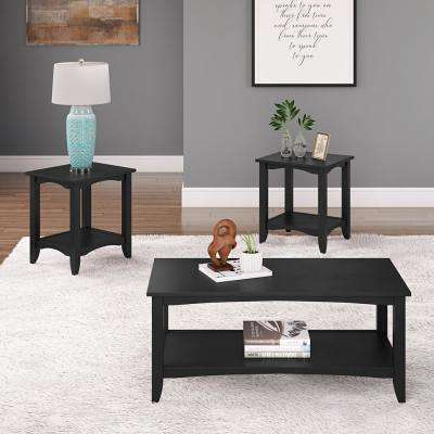 Cambridge 3-Piece Black 2-Tiered Coffee Table and End Tables Set