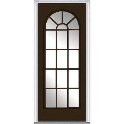 32 in. x 80 in. Left-Hand Inswing Full Lite Round Top Clear Classic Painted Fiberglass Smooth Prehung Front Door