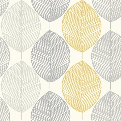 Scandi Leaf Yellow Paper Strippable Roll (Covers 56 sq. ft.)