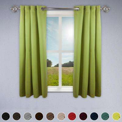 Heavy Duty Drapery 52 in. W x 63 in. H Panel in Green