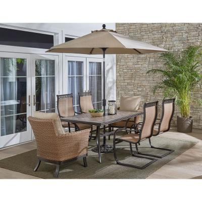 Monaco 7-Piece Aluminum Outdoor Dining Set with Tan Cushions (6-Chairs, Tile Table, Umbrella)