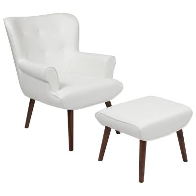 White LeatherSoft Arm Chair